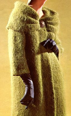 Women's Vintage 1960s Long Mohair Coat with Draped Collar -- KNITTING PATTERN. $2.25, via Etsy.