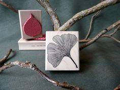 Ginkgo Leaf rubber stamp from oldislandstamps