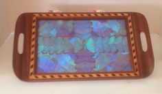 Vintage Morpho Blue Butterfly Wing Design Displayed In Wood Serving Tray-Nice!