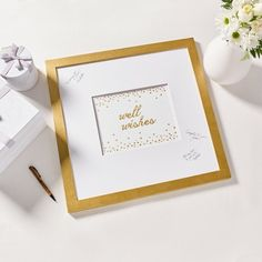 Remember your big day or your Bridal shows with this DIY guest board project well wishes from Martha Stewart. Create this with Martha Stewart gold metallic acrylic paint, an alphabet stencil set, a stencil brush set, a dauber set, a basic brush kit,  and stencil tape Martha Stewart Paint, Martha Stewart Crafts, Wedding Crafts, Diy Wedding, Wedding Ideas, Pre Wedding Party, Alphabet Stencils, Brush Kit, Something Old