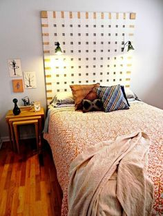 diy woven headboard from vertical blinds, bedroom ideas, home decor, repurposing upcycling, This giant woven headboard was made with old vertical blinds - via Hometalk Bedroom Headboard, Upholstered Headboard Shapes, Living Room Blinds, Vertical Blinds, Headboard Styles, Shabby Furniture, Bed Frame And Headboard, Home Decor, Diy Blinds