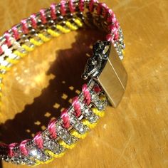 Crystal Braided Bracelet Pink, yellow and silver, magnetic closure. Very nice quality Jewelry Bracelets
