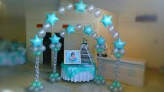 Tiffany-themed String of Pearl balloon arches