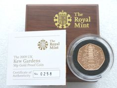 2009 Royal Mint Kew Gardens 50p Fifty Pence Gold Proof Coin Box Coa in Coins, Coins, British, Proof Sets/ Coins, 2000s | eBay