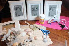 DIY Framed Shell Art--these would look great in our beach-themed bathrooms!