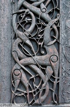 Viking animal art, Urnes stavkirke, oldest Stave Church in Norway, built 1135 AD.