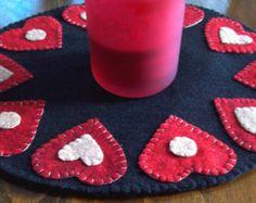 Be My Valentine Wool Felt Penny Rug