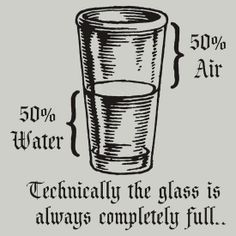 Technically the glass is always completely full.