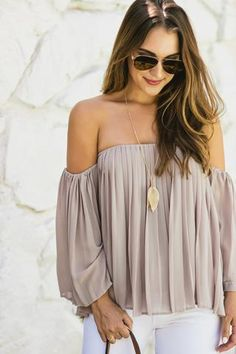 Nicole Grey Pleated Off the Shoulder Top | Morning Lavender