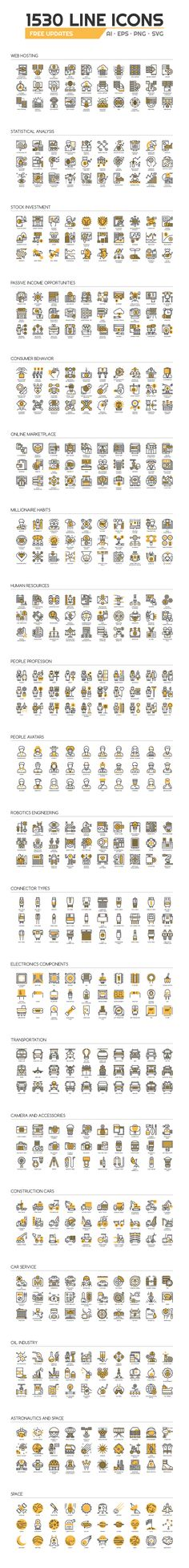1530 UNIQUE LINE ICONS by eucalyp on @creativemarket