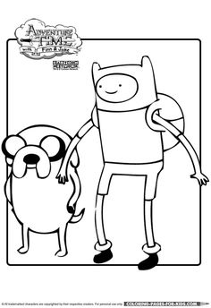 Superior Finn And Jake Adventure Time Printable Coloring Page For Kids