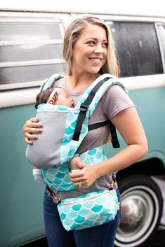 ac9c260e3de Baby Tula s Free-to-Grow  Coast Syrena Sky  mesh baby carrier has a panel  that adjusts to provide an ergonomic seat for baby as they grow from early  infancy ...