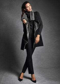 Sleek Shearling Oversized Collar Vest and Yarn-Dyed Denim Curvy Slim Leg Jean