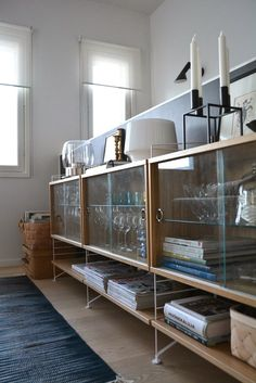 Love the shelves for the kitchen Bookcase Shelves, Shelving, String Shelf, String System, Mid Century Modern Design, Beautiful Space, Mid-century Modern, Sweet Home, New Homes