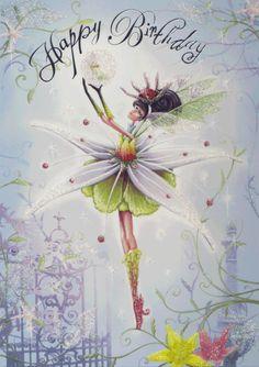 Happ+fairies | Pale Stonecrop Fairy Happy Birthday - The Paper D'Art Shop