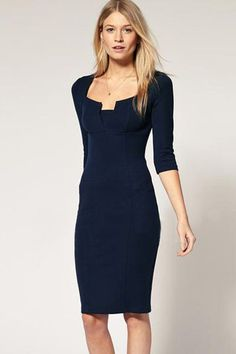 Exquisite Solid Neckline Navy Pencil Dress LAVELIQ Material: Polyester+Spandex Size: M,L Color: Blue Style: Work, Brief, Cute, Club Occasion: Night Club, Formal, Summer, Party Dresses Pattern: Solid N