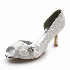 Top Quality Lace/ Satin Upper Stiletto Heel Peep Toe With Bowknot Wedding Shoe