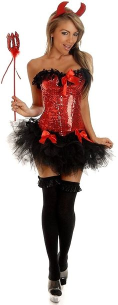 4 PC Pin-Up Devil Costume - #Halloween #Costume