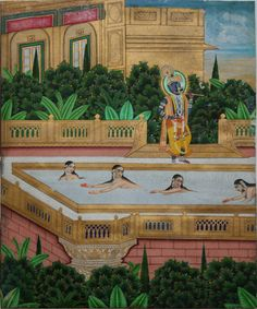Indian miniature painting: Venugopala (fluting Krishna) looks upon naked gopis swimming. Jaipur, circa 1860. Gouache and gold on wasli, pasted onto later card from a Victorian scraps album. 23.3 x 19.4cm