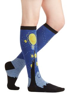 True Walk of Art Socks. Pay tribute to your favorite masterpiece by sporting it as knee-high socks! #blue #modcloth