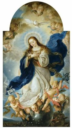 The Immaculate Conception - Carnicero Mancio, Antonio - Museo Nacional del Prado Mother Of Christ, Blessed Mother Mary, Divine Mother, Blessed Virgin Mary, Religious Icons, Religious Art, Virgin Mary Painting, Hail Holy Queen, Assumption Of Mary