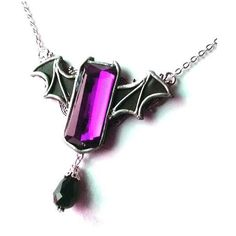 Gothic bat winged necklace 'Purple bat' halloween goth vampire horror... ($33) ❤ liked on Polyvore featuring jewelry, necklaces, gothic jewelry, purple jewelry, victorian jewelry, purple jewellery and gothic victorian jewelry