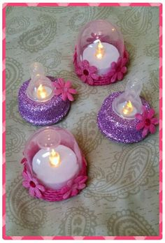 Made from $1 store baby bottles and battery tea lights (no link) Baby Shower Deco, 2nd Baby Showers, Baby Girl Shower Themes, Unique Baby Shower, Baby Shower Diapers, Baby Boy Shower, Diaper Parties, Christmas Baby Shower, Baby Blessing
