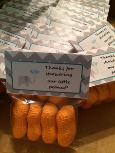 Take home circus peanut Favors for the Elephant Baby Shower theme :))) Www.facebook.com/wildflourcakesbyheather