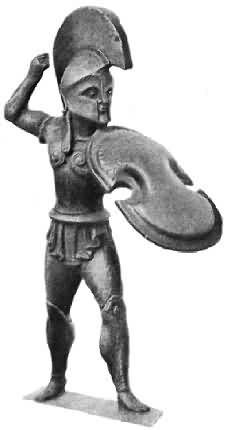Ancient Greek bronze statuette of a holite with Corinthian helmet and Boeotian shield. The spear is missing. Mycenaean, Minoan, Greek History, Ancient History, Corinth Greece, Chinese Armor, Corinthian Helmet, Greek Warrior, Roman Art