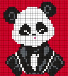 Little Panda (40 X 25) Perler Bead Pattern by Melissa Pious