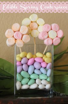 Edible Spring Centerpiece with Marshmallow Flowers. Fun for the kids to make and then use on the kid table.