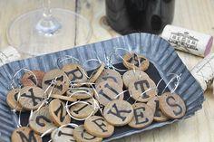 Wood alphabet wine charms