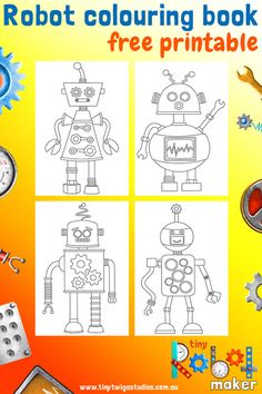 Tiny Robot Maker- Mini Colouring Book Printable. Make your own colourful robots and save your designs as colouring pages with Tiny Robot Maker- A Creativity App for iPad and iPhone.