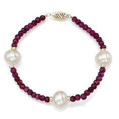 """14k Yellow Gold 9-9.5mm White Freshwater Cultured Pearl and 4mm Simulated Gemstones Bracelet, 7.25"""" >>> Click image for more details."""
