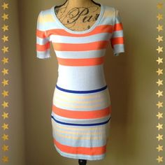 """🎉HP!🎉 Sanctuary multicolored bodycon dress Fun and unique, sexy dress! The size is small, and measures about 34.5"""" from shoulder to hemline. Dress is a baby blue color, with orange, beige and royal blue stripes. Cotton/nylon blend, hand wash only. Waist is approx: 29."""" Shown on a dress form that has a 34"""" bust and 26.5"""" waist. Dress has great stretch to it. Sanctuary Dresses"""