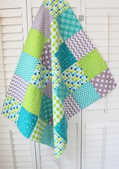 Baby Blanket, Unisex Baby Blanket, Nursery Decor, Photography Prop, Crib Blanket, Chevron Nursery, Teal Blue, Lime Green and Gray, Chevron