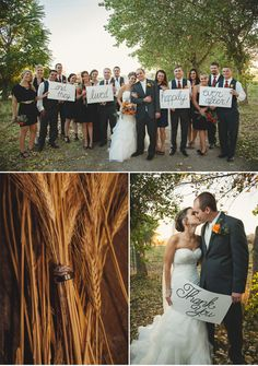 Fall Wedding with Bold Pops of Blue and Orange  *click on link to see more of this wedding