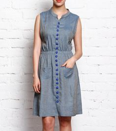 Blue Woven Cotton #Tunic/Dress at #Indianroots