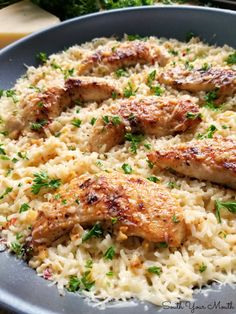 cooking recipes A quick and easy skillet meal with tender chicken scampi over perfectly cooked buttery, garlic parmesan rice. Chicken Parmesan Recipes, Easy Chicken Recipes, Healthy Chicken, Recipes With Chicken Tenders, Parmesan Chicken Tenders, Chicken Drumsticks, Chicken Thighs, New Recipes, Dinner Recipes