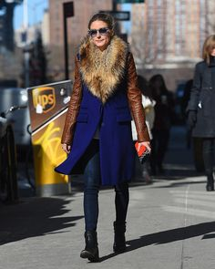 EXCLUSIVE: Olivia Palermo seen wearing a purple coat with fur collar in Brooklyn, New York