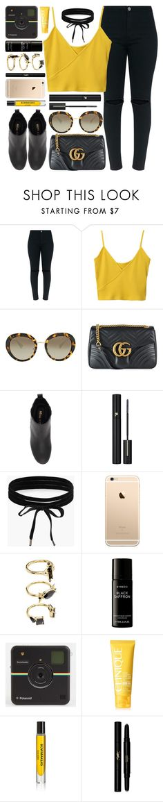 """""""Black & Yellow"""" by monmondefou ❤ liked on Polyvore featuring Prada, Gucci, Miss KG, Lancôme, Boohoo, Noir Jewelry, Liberty, Clinique, D.S. & DURGA and Yves Saint Laurent"""