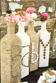 Twine wrapped bottles at a cowgirl baby shower party! See more party planning ideas at CatchMyParty.com!