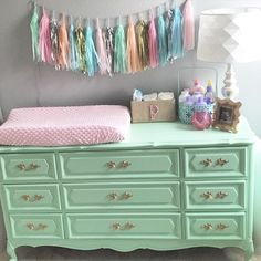 Vintage Dresser Turned Into Changing Table Mint Baby Nursery