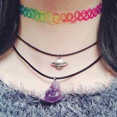 Rainbow tattoo choker, tattoo necklace, stretchy choker, hippie choker, 90s grunge