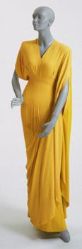 Yellow rayon crepe dress with bands of light chartreuse crepe, designed by Adrian, American, c. 1944.