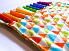 bright geometric crayon roll