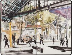 Urban Sketchers Portugal: Estação Alcântara Terra