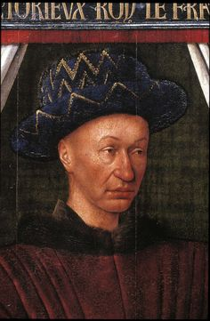 Jean Fouquet Portrait of Charles VII King of France detail oil on panel 1450-55 Paris, Musee du Louvre