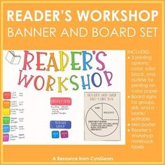 Reader's Workshop Banner and Board Set by Cyr's Gears Readers Workshop Notebook, Notebook Labels, Fifth Grade, Comic Sans, Colored Paper, Anchor Charts, Teaching Resources, Outline, Gears