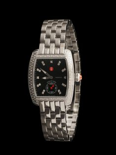Michele Watch Stainless Steel Mini Urban Diamond. Diamond Dial, Diamond Bezel, Black Textured Enamel Dial, Stainless Steel Bracelet. Diamonds approximately .74ct total weight. Available at London Jewelers!